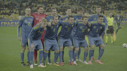 The football team is photographed before the match.(Ukraine Team) Footage