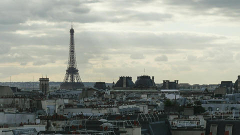 Timelapse of clouds over Paris and Eiffel Tower Footage