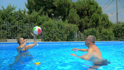 Enjoyable and active summer day in the pool Live Action