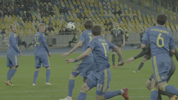 The team's attack during a football match . Slow motion Footage