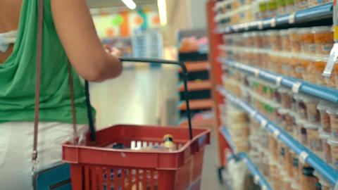 Woman shopping in the grocery store Footage