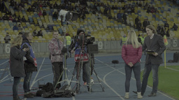 TV crew during the broadcast from the stadium Footage