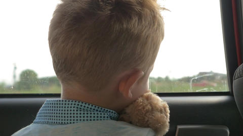 Child traveling in car with favourite teddy bear Footage