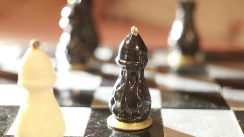 Playing chess, exchange pawns Footage