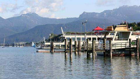 Harbour of lake Chiemsee, Bavaria Footage