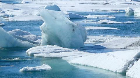 Ice blocks break down at the glacier lagoon Jokulsarlon Footage