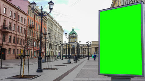 Billboard green screen in St. Petersburg. timelapse Live Action