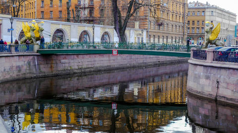 Moyka River. Saint-Petersburg. timelapse Footage