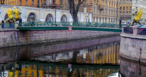 BANK BRIDGE in St. Petersburg. timelapse Footage
