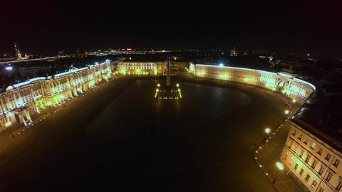 Aerial view. Palace Square, Hermitage in St. Petersburg. Night. 4K Footage
