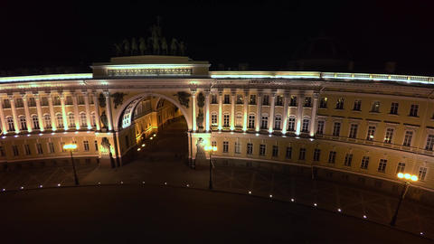 Aerial view. The General staff on Palace square. Saint-Petersburg. Night. 4K Live Action