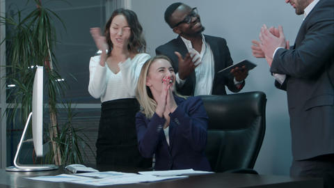 Business team applauding during meeting in the office Footage