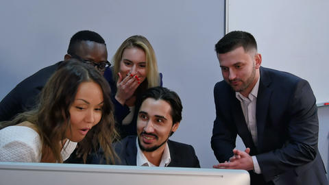 Group of multiracial business team shoked with result, surprised, smiling and Footage