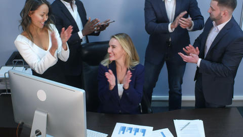 Business multiracial team applauding to each other in office Footage