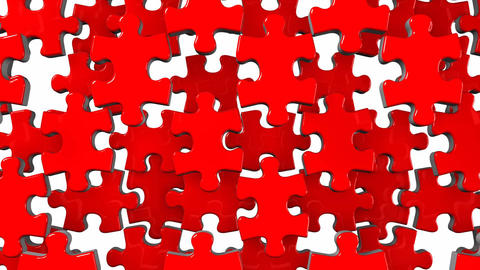 Red Jigsaw Puzzle On White Background CG動画