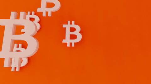 Bit coin symbols falling on the floor in two stages Stock Video Footage