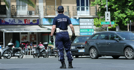 Italian Policeman in Uniform Controlling Road Traffic in The City Center of San GIF