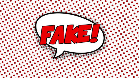 Fake text in speech balloon in comic style animation CG動画
