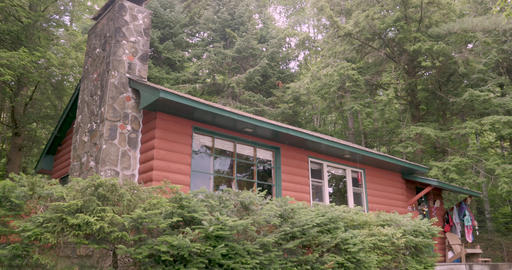 Establishing shot of a log cabin in the woods - locked down shot in the summer ライブ動画