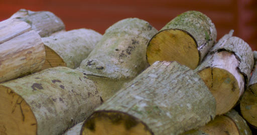 Dolly shot of firewood rounds stacked in a wood pile outside a log cabin in the ライブ動画