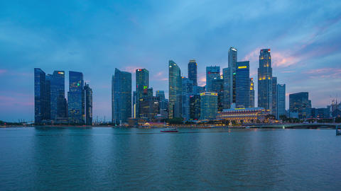 Day to night timelapse of Singapore city skyline with Marina Bay time lapse 4K Footage