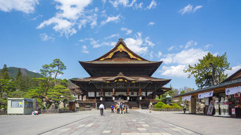 Timelapse video of tourist are traveling at Zenkoji Temple in Nagano, Japan Live Action
