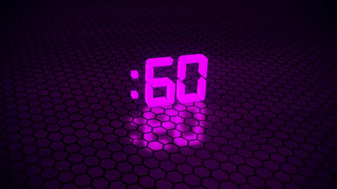 3D Fuchsia 60 Seconds Countdown with Hexagonal Floor Background Animation