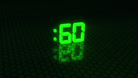 3D Green 60 Seconds Countdown with Hexagonal Floor Background Animation
