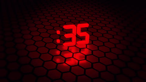 3D Red 60 Seconds Countdown with Hexagonal Floor Background Animation