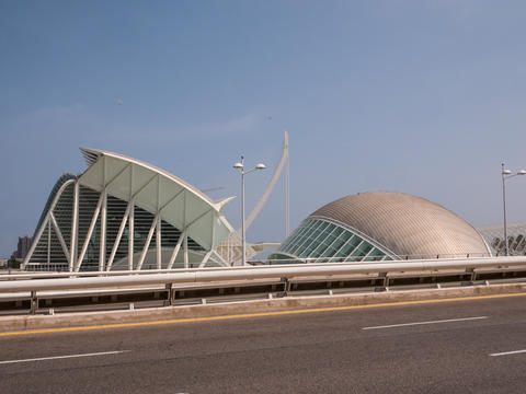 front view of the fantastic city of science and art of Valencia, spain フォト