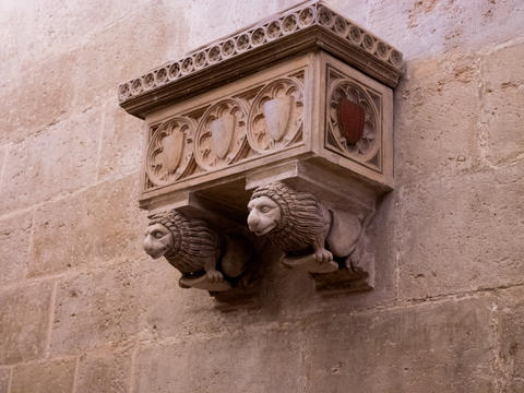 gothic period balcony in the center of Valencia, Spain Photo