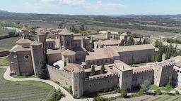 Aerial view of Poblet Monastery in Catalonia Spain Footage