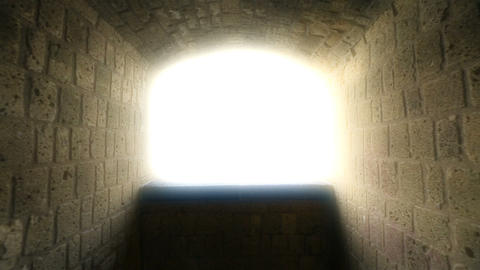 Way to heaven, point of view of dying person, light at end of tunnel, hypnosis Footage