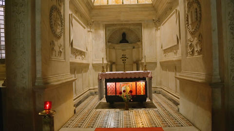 Relics of Saint Januarius in crypt of the Naples cathedral, spirituality, faith Live Action