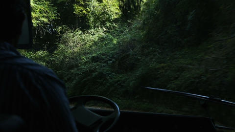Bus taking turns on narrow canopy highway, overlook from windshield near driver Footage