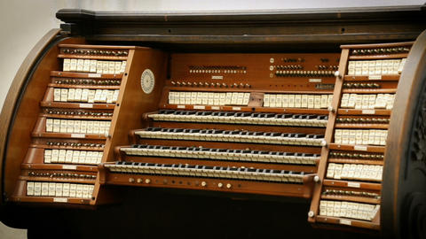 View of old wooden organ standing in the church, religious music, melody Live Action