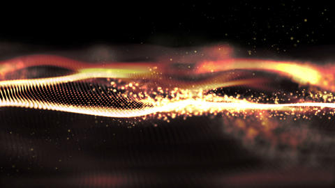 Futuristic Digital Gold Abstract Particles Animation