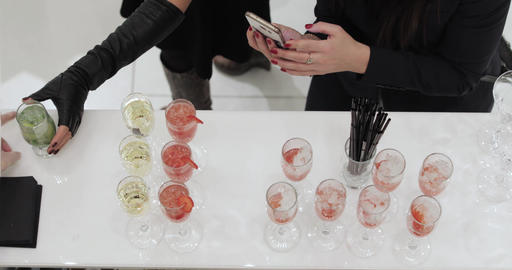 Woman taking pictures on smartphone cocktails Footage