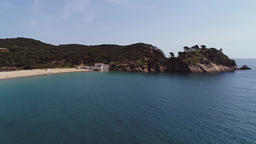 Aerial drone view of Costa Brava in Palamos Girona Catalonia Spain ビデオ