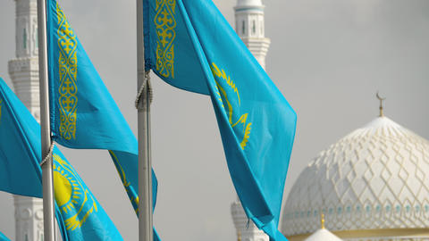 Flags and dome of mosque Footage