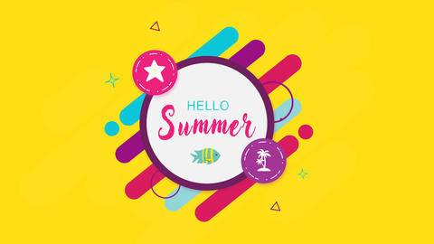 Geometric intro with inscription, sign hello summer Animation