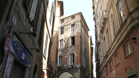 Characteristic small streets in Genoa, Italy Footage