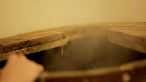 Beautiful girl goes into a cedar barrel Footage