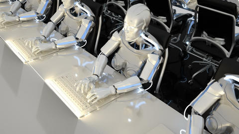Robots of the future work in offices on computers. Loopable GIF