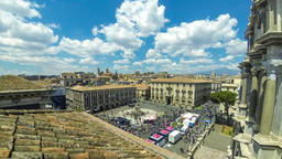 Aerial skyline view of Catania old town, Sicily, Italy ビデオ