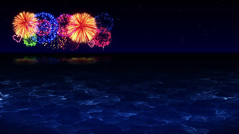 Colorful Fireworks Light Up the Sky, Over the Beach, CG Loop Animation Animation