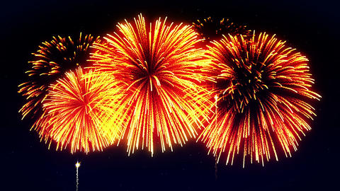 Colorful Fireworks Light Up the Sky, CG Loop Animation CG動画素材