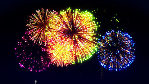 Colorful Fireworks Light Up the Sky, CG Loop Animation Animation