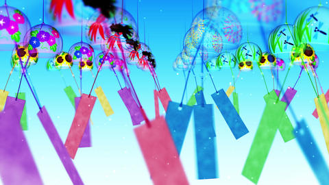Japanese Traditional Summer With Wind Chimes, Blue Background, Loop Animation CG動画素材