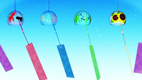 Japanese Traditional Summer With Wind Chimes, Blue Background, Loop Animation CG動画